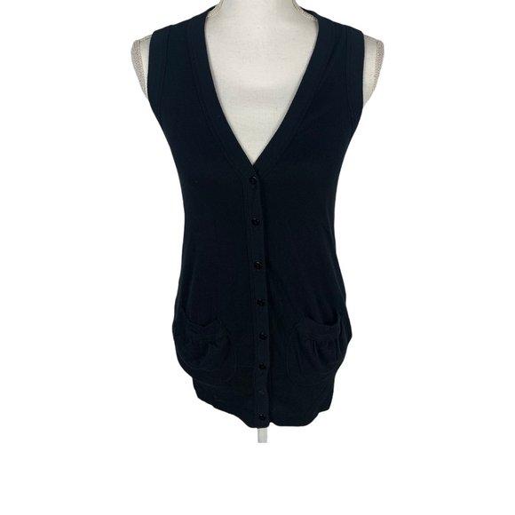 Splendid Black Button-up Vest W/ Pockets Size M